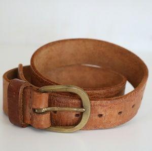 "Vintage 70s Leather Tooled Belt 30"""